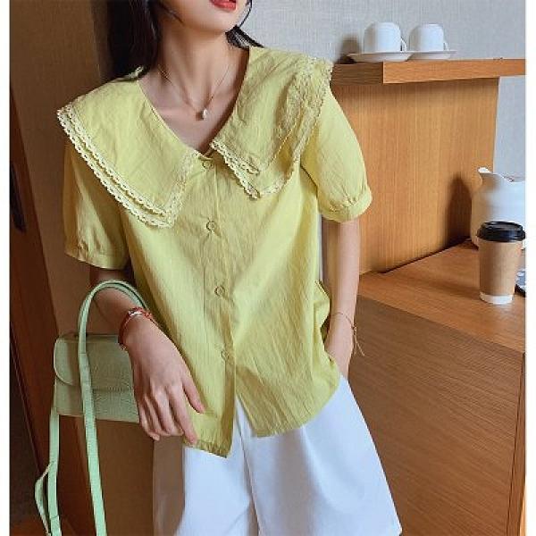 中大尺碼上衣M-4XL短袖襯衫女2020設計感娃娃領上衣寬鬆百搭白襯衣T317-1929.一號公館