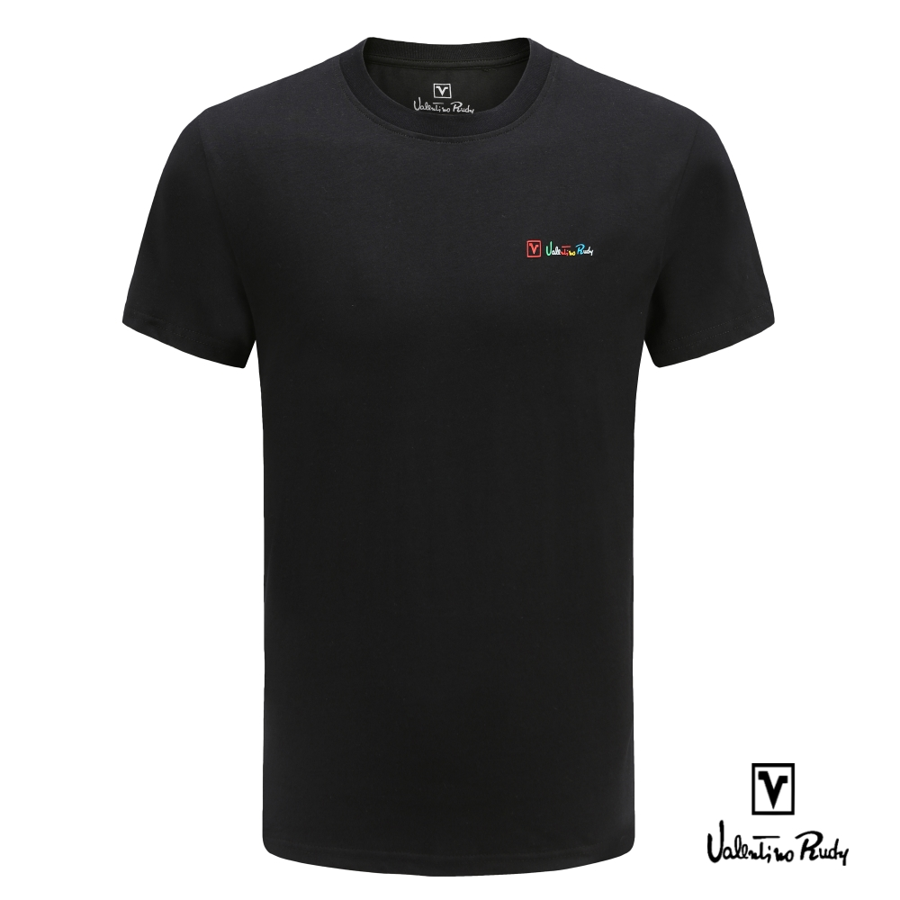 Valentino Rudy 范倫鐵諾.路迪 純棉T恤衫-素面純色螺紋領圈-黑