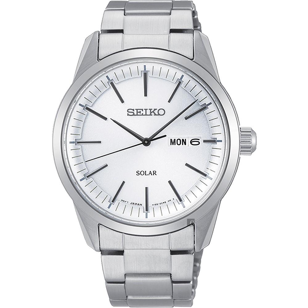 SEIKO 精工 CS 太陽能SOLAR 手錶-銀/40mm V158-0BE0S(SNE523P1)