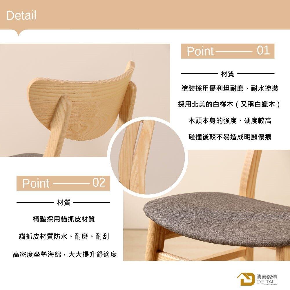 D&T 德泰傢俱 Miso北美白梣木全實木餐椅(椅身原木色+灰色貓抓皮)B001-C202