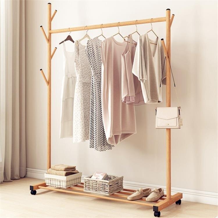 掛衣架落地臥室內晾衣架單桿式衣帽曬衣服架子折疊涼衣桿簡易家用
