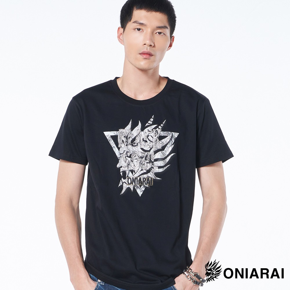 BLUE WAY 鬼洗 ONIARAI-短袖T恤/三角鬼頭精繡黑魂