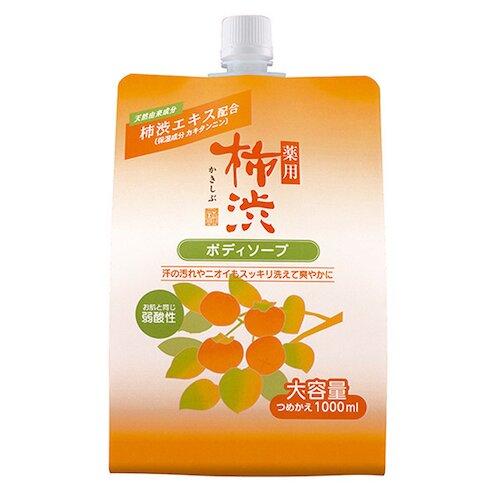 日本【 熊野油脂】 四季藥用弱酸性柿澀沐浴乳超大補充包1000ml