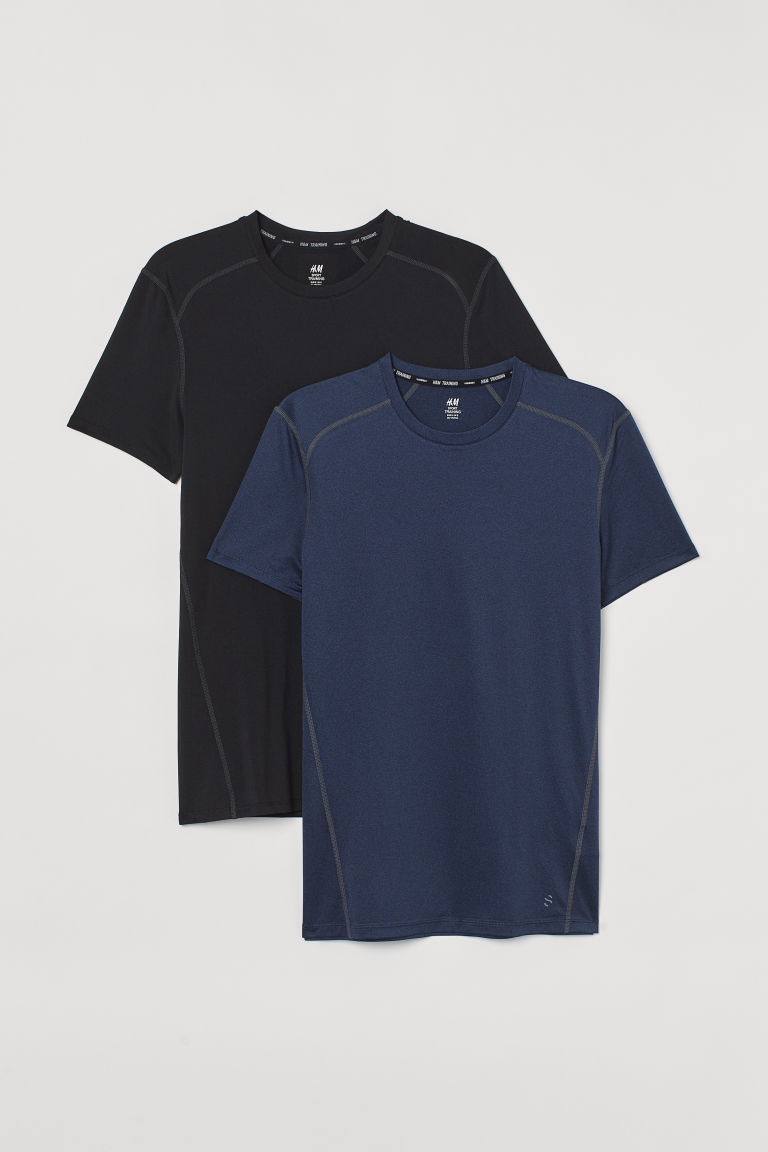 H & M - 2件入運動上衣 - 藍色