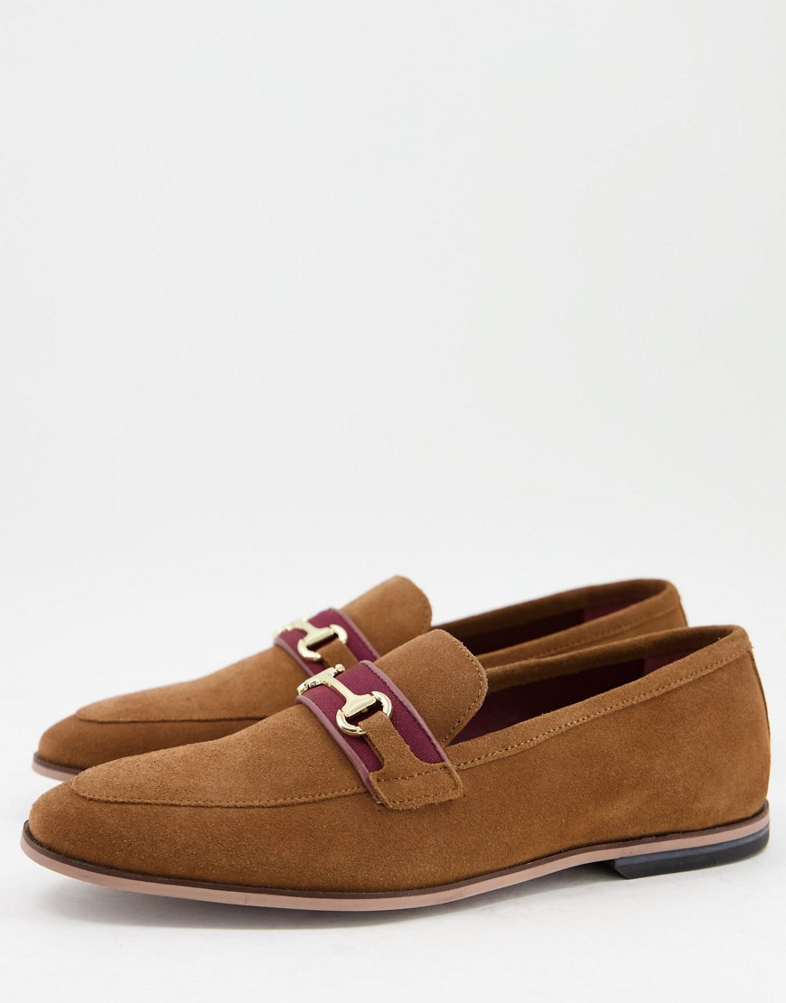 Walk London Raphael bar loafers in tan suede-Neutral