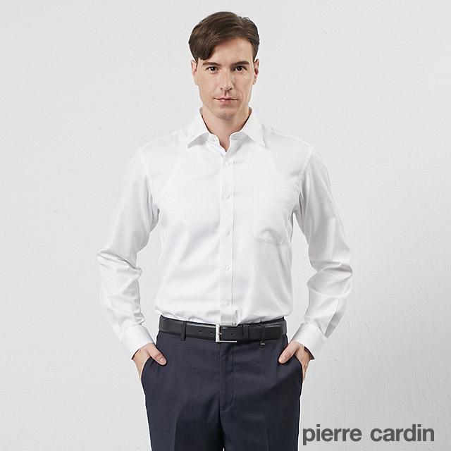【pierre cardin 皮爾卡登】男裝歐風品味素色織花長袖襯衫-白色(31828-90)