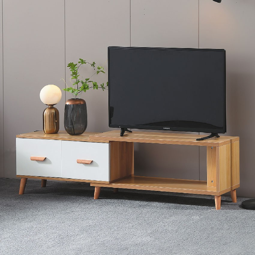 110~180cm伸縮電視櫃-e423-1客廳組合長櫃 展示收納櫃 北歐工業風 tv櫃 金滿屋