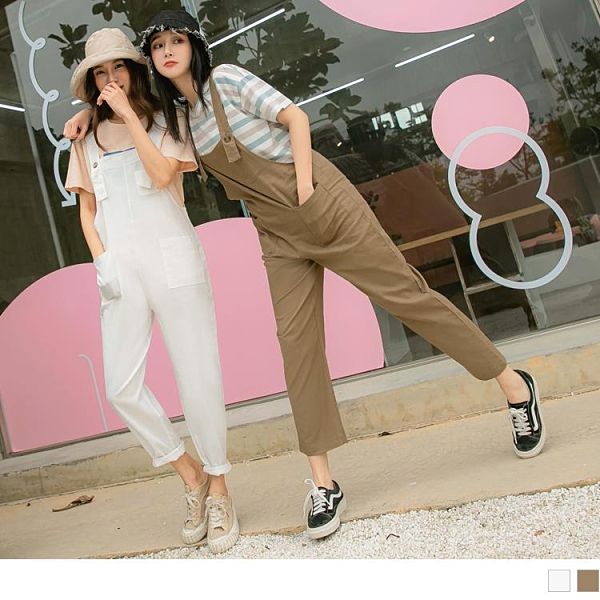 《MA0402-》純色棉麻口袋可調式吊帶直筒長褲 OB嚴選