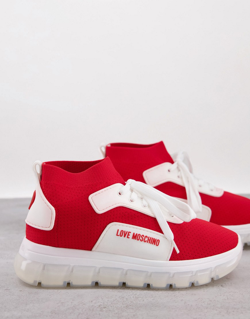 Love Moschino logo sporty flatform trainers in red