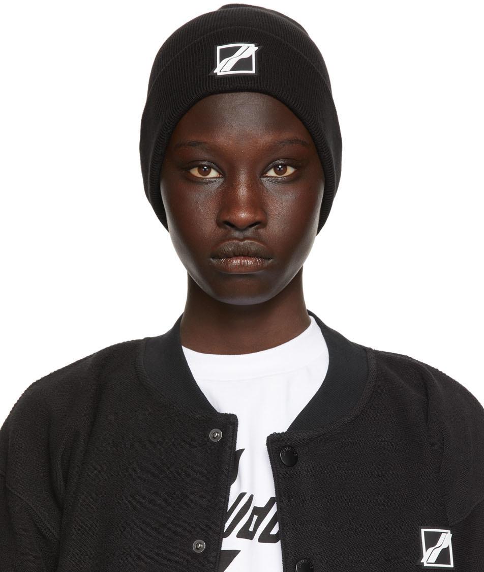 We11done 黑色徽标贴饰毛线帽