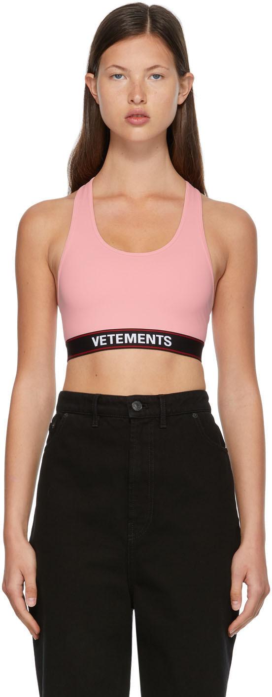 VETEMENTS 粉色徽标运动文胸