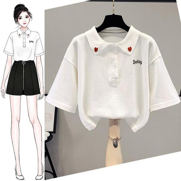 POLO衫 新款夏裝針織衫冰絲白短袖T恤女裝polo上衣短款設計感小眾【新品狂歡】