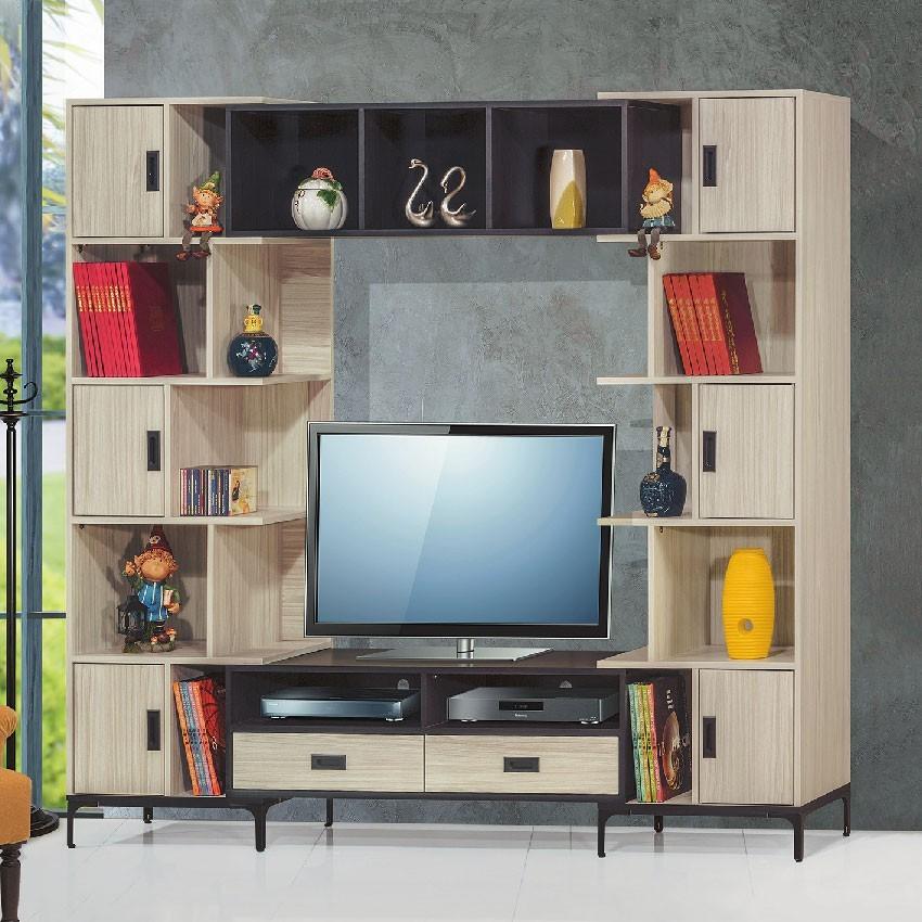 185~230cm伸縮電視牆-e397-1客廳組合長櫃 展示收納櫃 北歐工業風 tv櫃 金滿屋