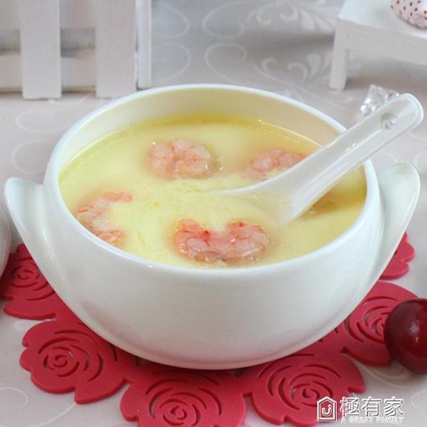 帶蓋骨質瓷燉盅雙耳碗韓式寶寶湯碗骨瓷烤箱飯碗蒸碗微波爐碗熱賣 極有家