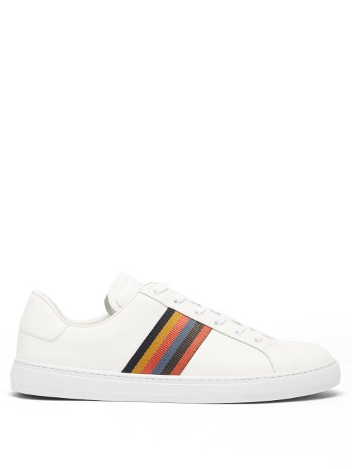 Paul Smith - Hansen Stripe Leather Trainers - Mens - White Multi