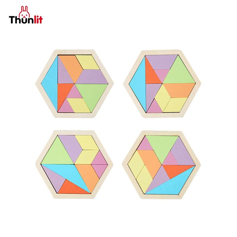 Thunlit益智木製拼圖 兒童蜂窩狀木製十巧板實木材料百變拼圖多彩