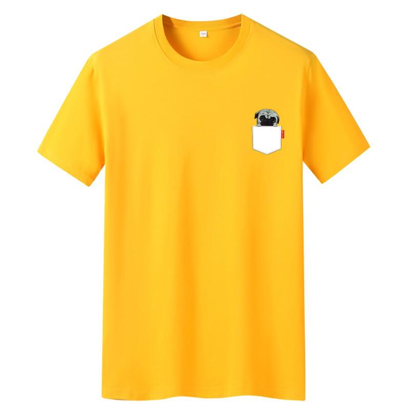 【HOT 本舖】S-6XL T恤 修身T恤 短袖T恤衫 夏季男士短袖恤 時尚潮流 寬鬆短袖上衣服 口袋狗 小清新