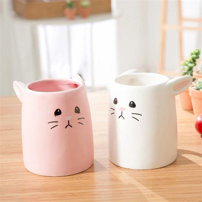 【日本 sunart】對杯 -粉白兔