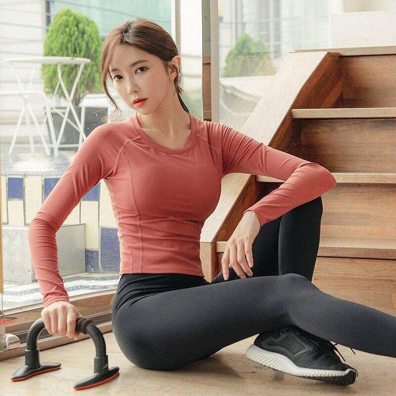 秋冬瑜伽服女套裝修身運動t 恤健身緊身運動褲兩件套跑步健身套裝