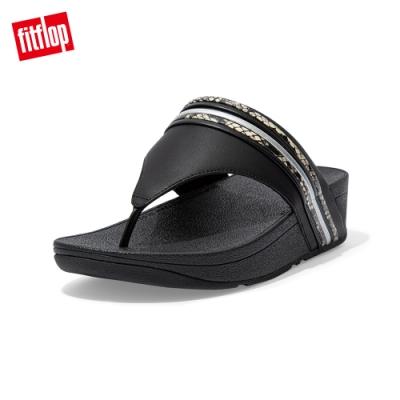 FitFlop OLIVE SNAKE BANGLE TRIM TOEPOST SANDALS 蛇紋夾腳涼鞋 女(黑色)