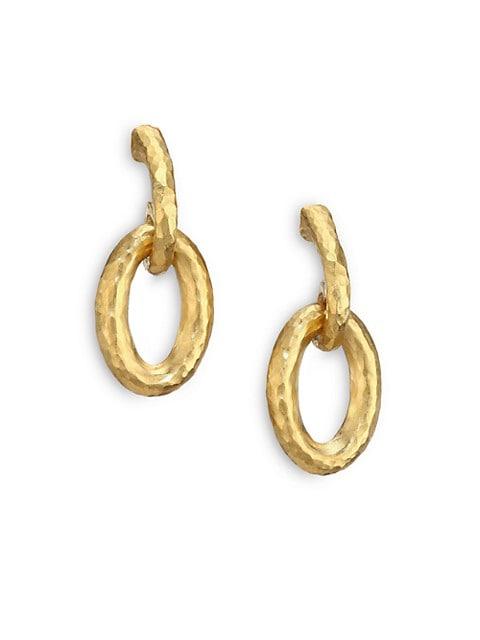 Hoopla 24K Yellow Gold Galahad Drop Hoop Earrings