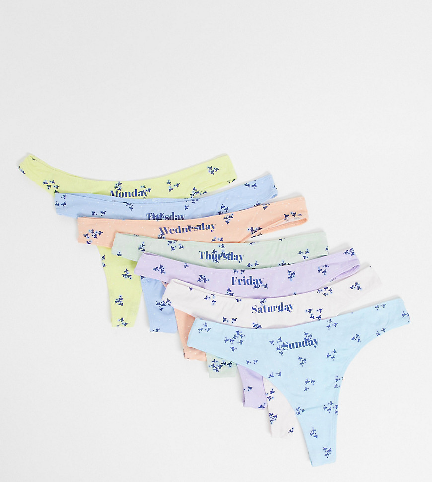 Wednesday's Girl 7 pack thongs in days of the week print-Multi