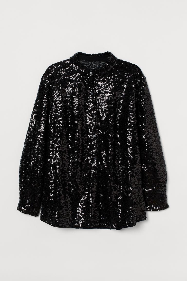 H & M - H & M+ 亮片襯衫 - 黑色