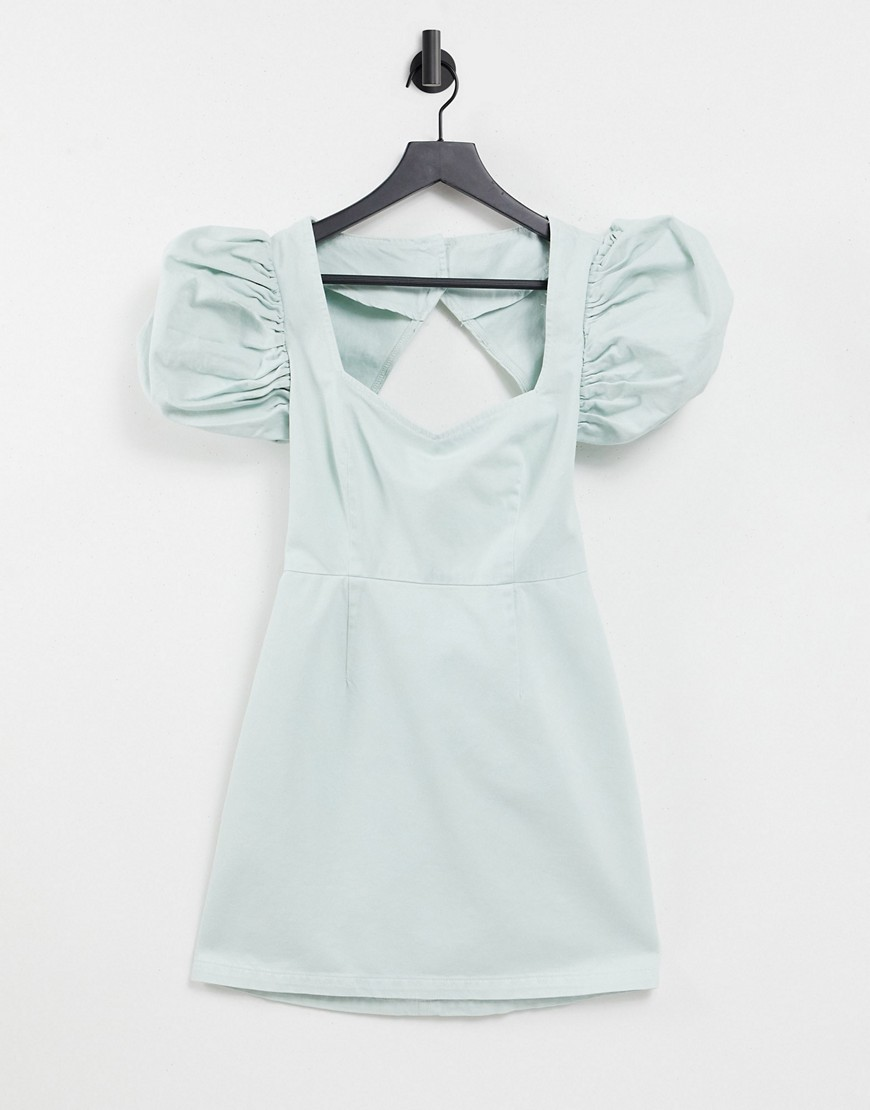 ASOS DESIGN denim dress with extreme puff sleeves in mint-Green