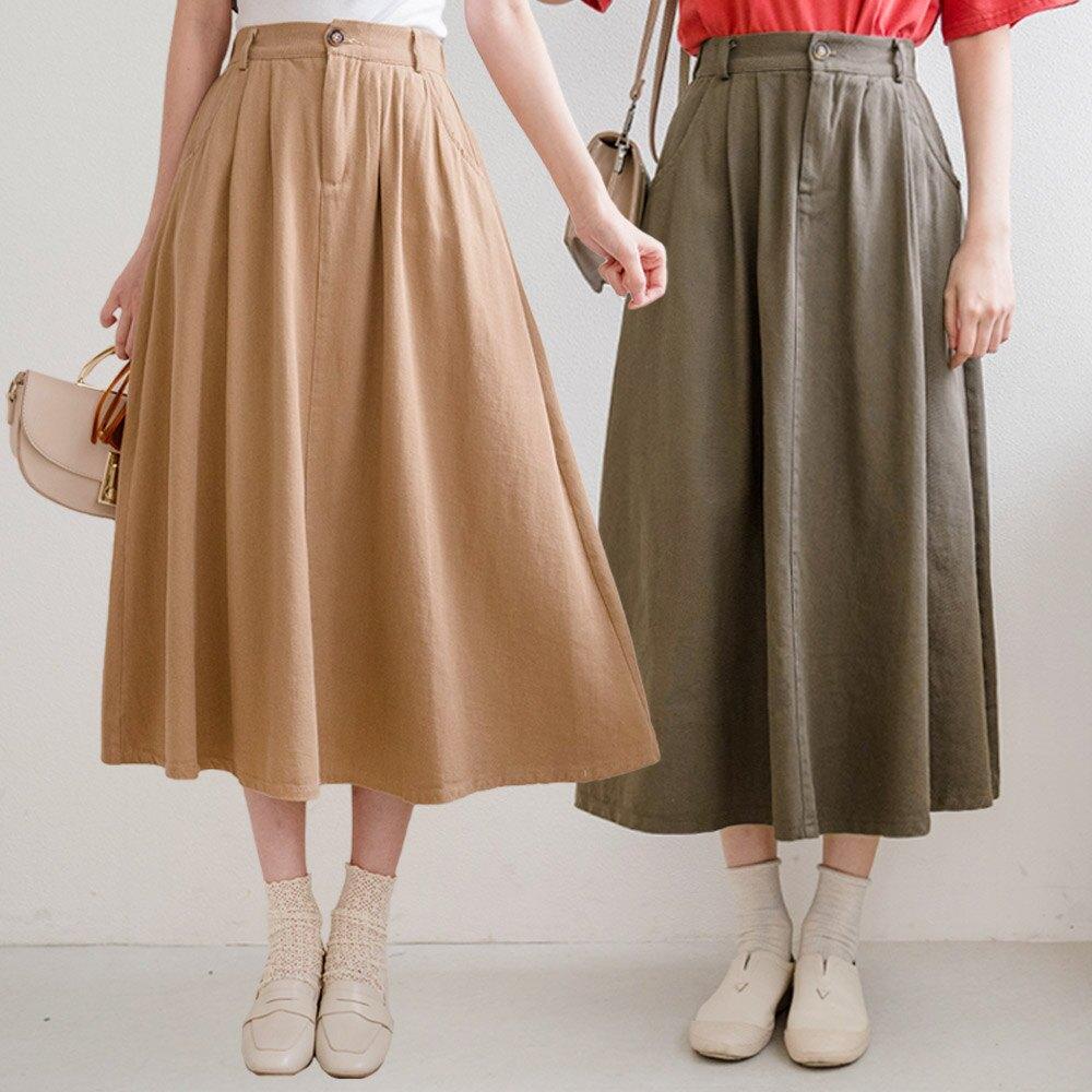 MIUSTAR 雙壓褶鬆緊腰斜紋布中長裙(共4色)裙子 長裙 0420 預購【NJ0967】