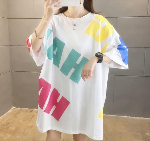 上衣 寬鬆 學院風M-2XL中大尺碼夏裝日韓版中長款印花短袖T恤NE416.7898韓依紡