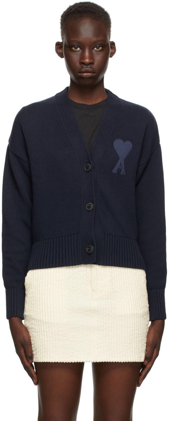 AMI Alexandre Mattiussi 海军蓝 Ami De Coeur 大廓形有机棉开衫