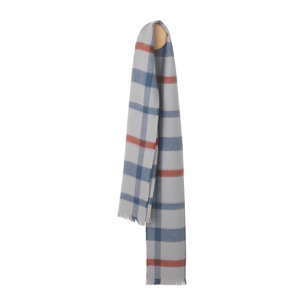 Elvang London 30x160cm 100% 倫敦系列 格紋 超輕量 羊駝毛 圍巾(冬日灰藍)