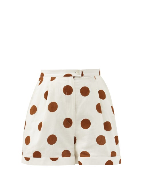Halpern - High-rise Polka-dot Linen-blend Shorts - Womens - White Gold