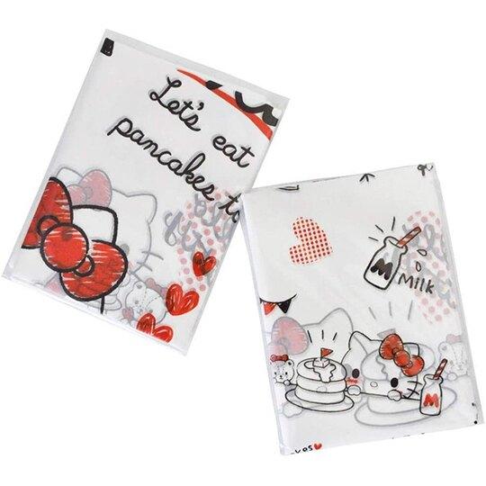 小禮堂 Hello Kitty 透明環保塑膠袋組 環保購物袋 便當袋 手提袋 (L 10入 紅)