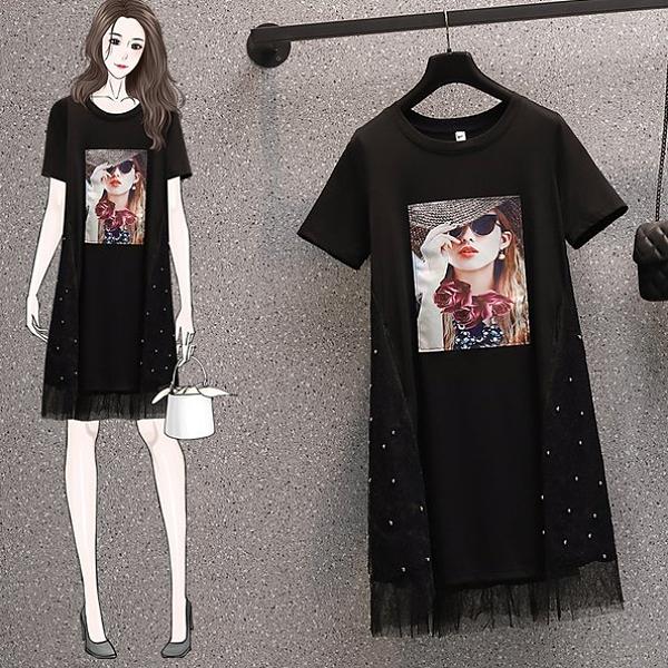 裙子裙子長版衣T裙L-4XL中大尺碼寬鬆釘珠減齡顯瘦網紗拼接胖MM連衣裙R06B.9348依品國際