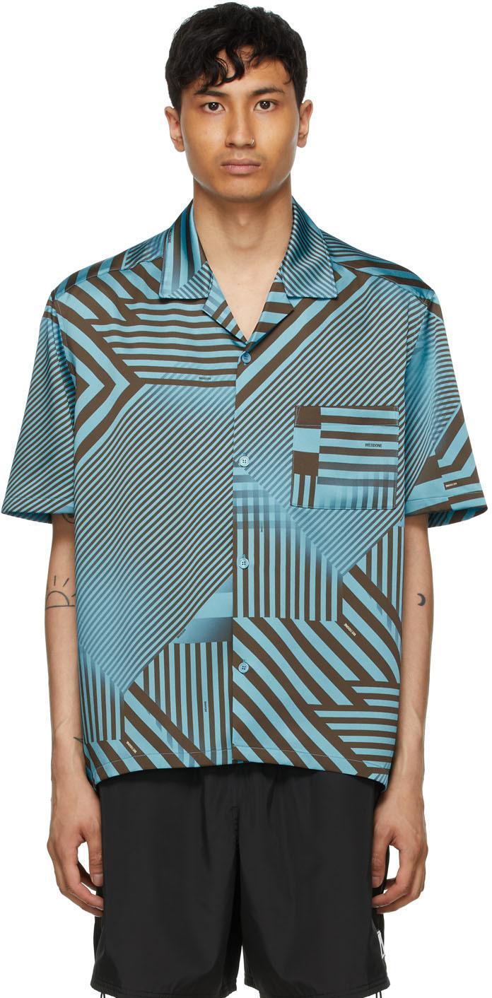 We11done 蓝色 Geometric Print 短袖衬衫
