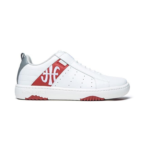 【南紡購物中心】【Royal Elastics】ICON2.0 白紅灰真皮潮流運動休閒鞋 (男) 06512-018