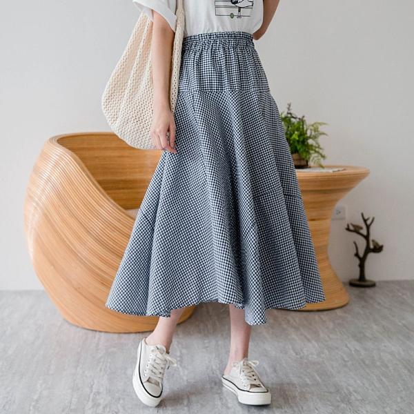 MIUSTAR A字傘襬鬆緊格子棉麻長裙(共2色)【NJ1088】預購