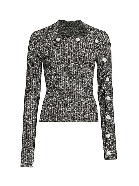Button-Trimmed Tweed Rib-Knit Sweater