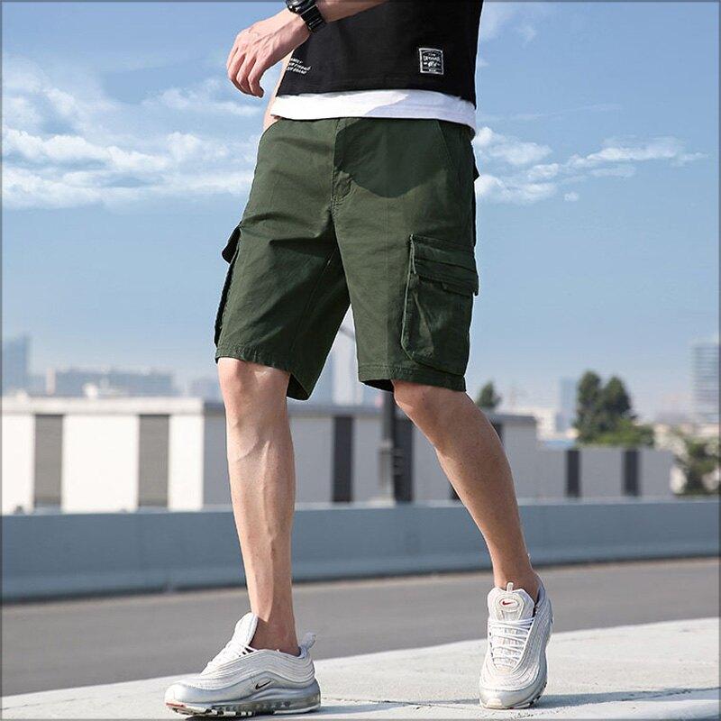 大尺碼工作短褲‧基本款素色掀蓋口袋壓線剪裁純棉工作短褲‧5色‧加大尺碼【NTJBBL27351】-TAIJI-