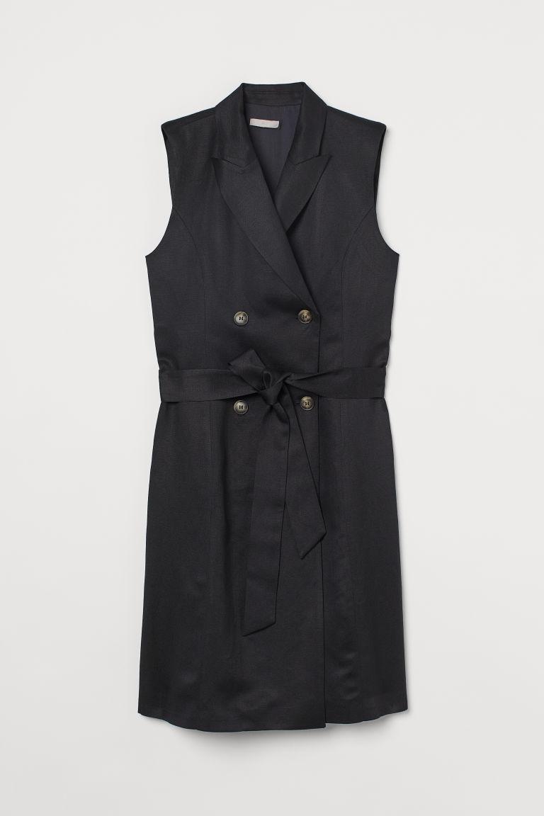H & M - 無袖外套式洋裝 - 黑色