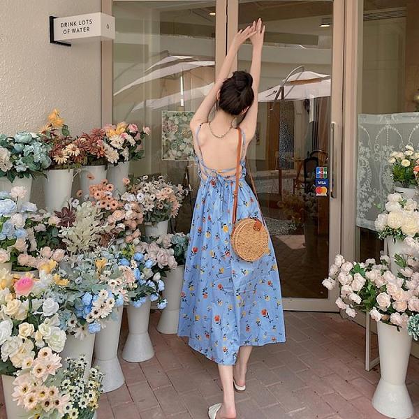 碎花吊帶洋裝女2021新款夏長裙超仙氣質V領露背海邊度假裙 喵小姐