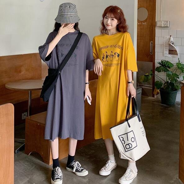 洋裝 休閒裙 長版衣 中大尺碼M-4XL新款潮減齡字母印花顯瘦長款T卹連身裙4F049B-9083.胖胖美依