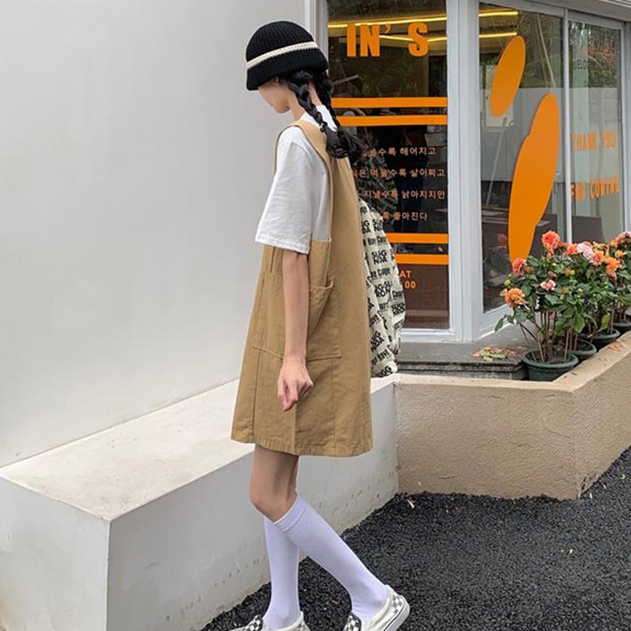 背帶裙 無袖 吊帶裙 連身吊帶裙 女生洋裝 連身裙 夏季小個子森系 可愛日系工裝ins風學生連衣裙