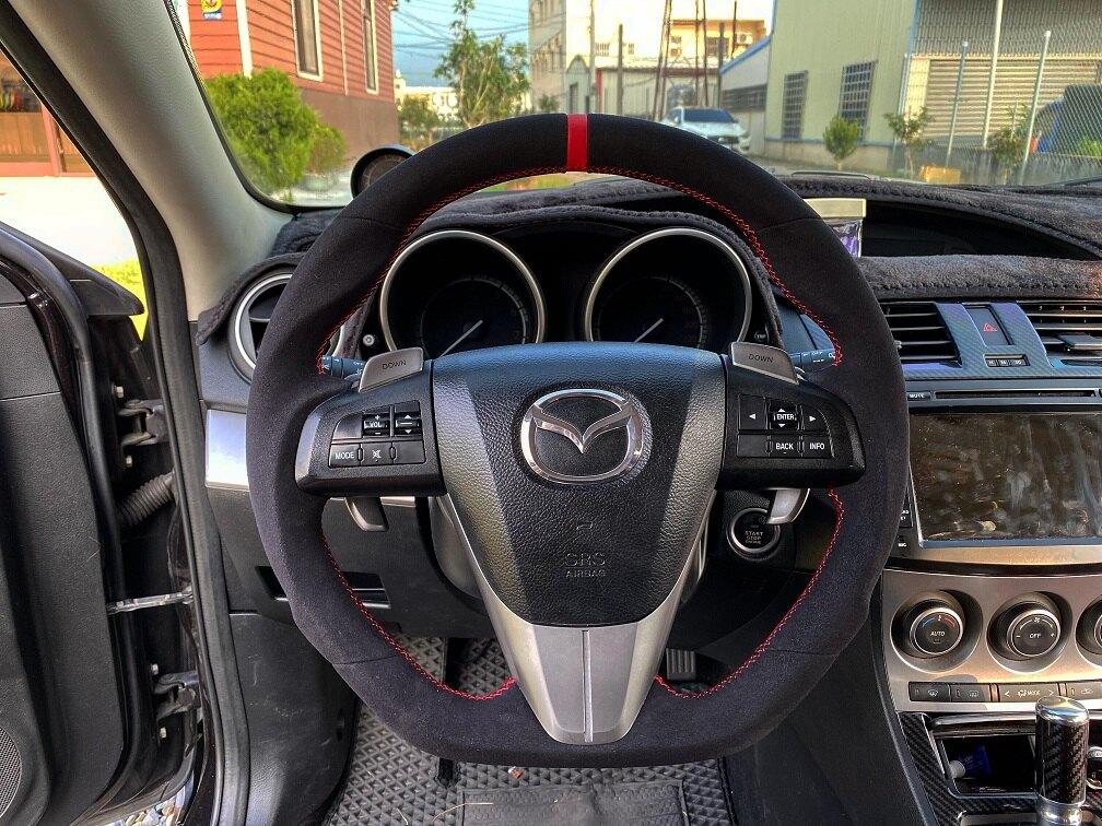 [細活方向盤] 麂皮紅環款 Mazda3 Mazda5 MAZDA 馬三 馬五 馬3 馬5 馬自達 變形蟲方向盤 方向盤 造型方向盤