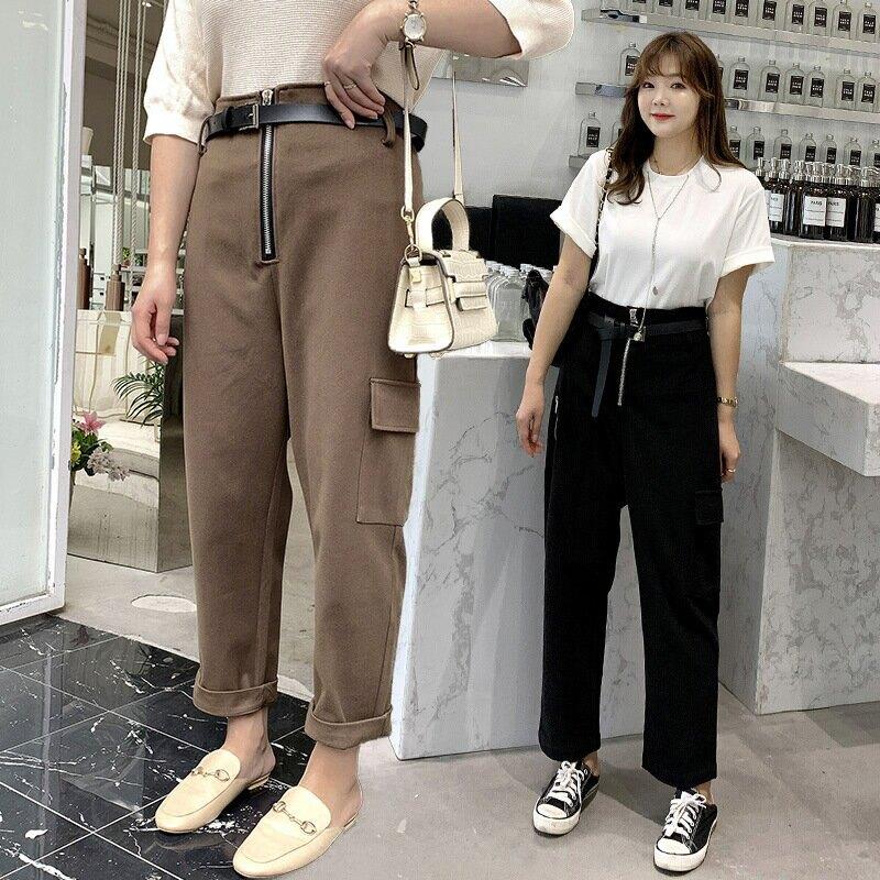 2021春季新款韓版女裝200斤胖mm加大加肥拉鍊腰帶休閒褲