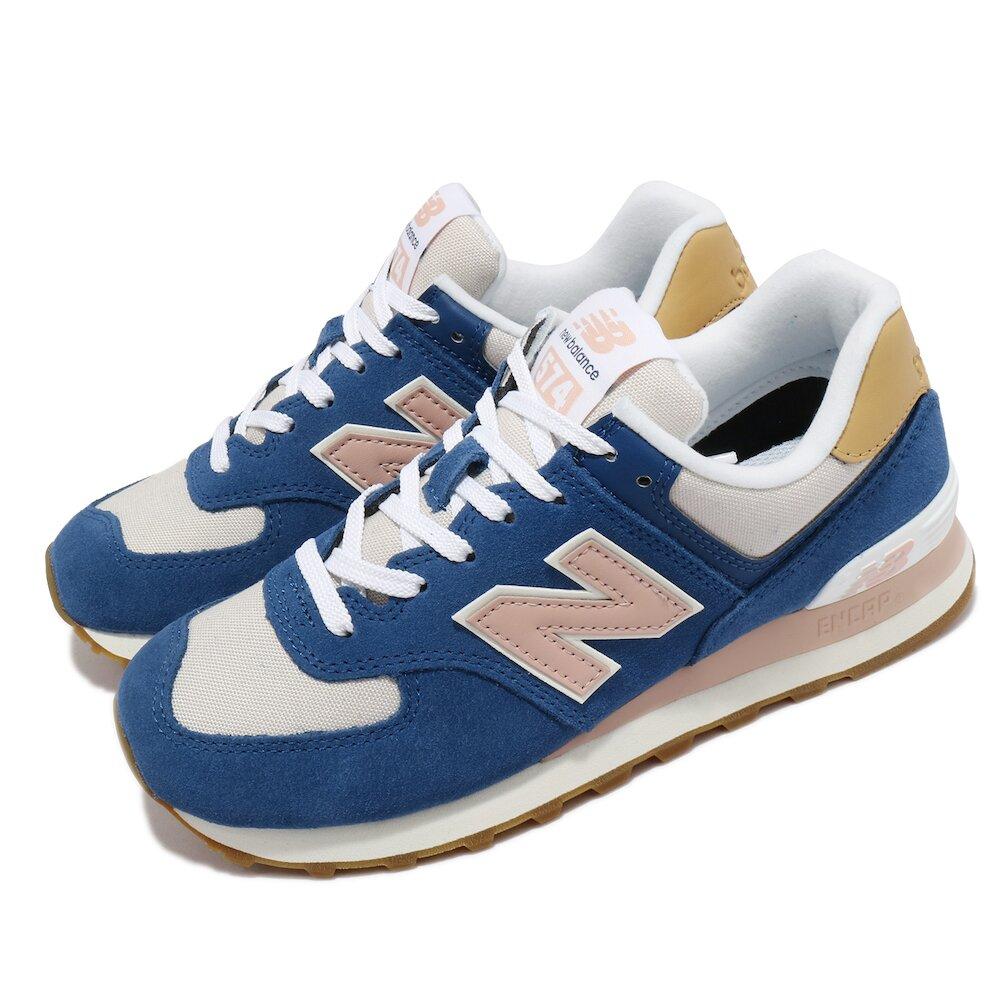 NEW BALANCE 休閒鞋 574 Tencel 麂皮 女鞋 紐巴倫 緩震 百搭 鞋櫃必備 藍 粉 [WL574NU2B]