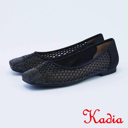 kadia.透膚網狀鑽面女鞋(1016-98黑色)