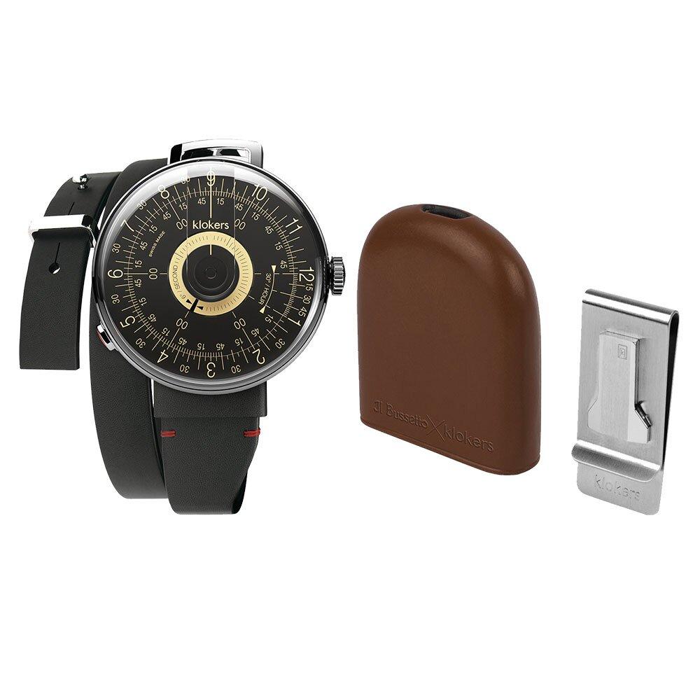 klokers【庫克錶】KLOK-08-D3 黑軸+IL BUSSETTO x KLOKERS BELL皮革懷錶套組 | 錶徑39mm