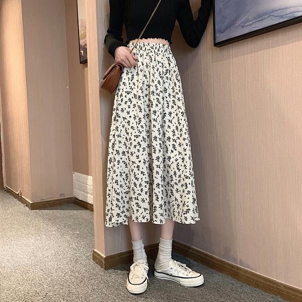 【Charm Beauty】復古 碎花 雪紡半身裙女 中長款 垂感 高腰顯瘦 百搭A字裙 2021春季 新款